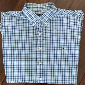 XXL Vineyard Vines Mens blue plaid shirt.